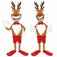 2xReindeers with thumbs up smaller photo