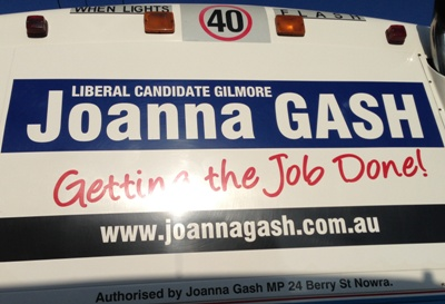 Joanna Gash Liberal Candidate for Gilmore sign on bus