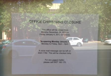 Gilmore office closed for christmas sign