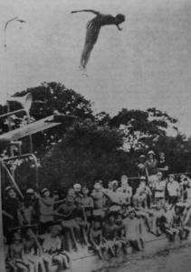 Diving at Nowra Olympic Pool with lots of onlookers